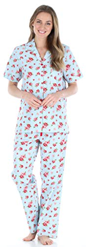 Sleepyheads Women's Sleepwear Cotton Short Sleeve Button-Up Top and Pants Pajama Set (SHCP1624-5031-XS)