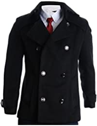 Mens Detachable Collar Double Breasted Pea Coat