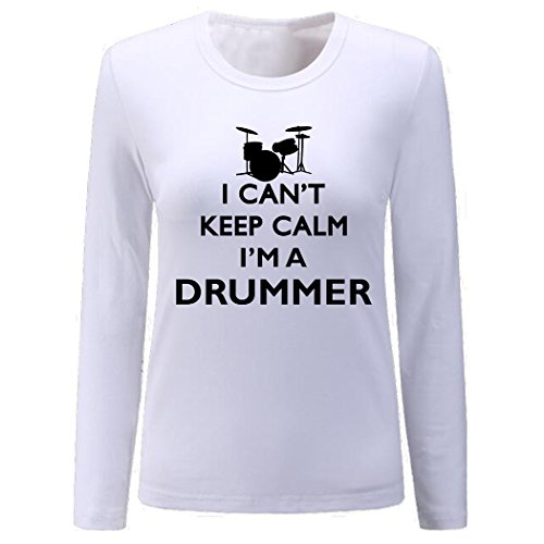 - Women's I Can't Keep Calm I'm A Drummer Long Sleeve Shirt (White,S)