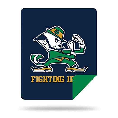 Officially Licensed NCAA Notre Dame Fighting Irish Denali Silver Knit Throw Blanket, Navy, 60