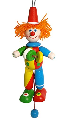 Jumping Jack Puppet - Funny Clown Doll - Vintage Wooden Pull Toy - Collectible Handpainted Movable Wooden Figurine - 7