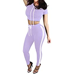 Pink Queen Women Purple 2 Piece Exercise Top and Pants Set Sport Twinset,Purple,Small