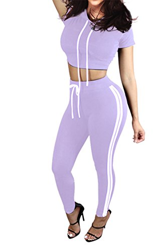 Pink Queen Women 2 Piece Exercise Top and Pants Set Sport Twinset L Purple