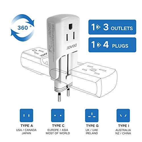 DOACE 10A Travel Adapter with 3 AC Outlets, All in One International Power Adapter Plugs for UK, EU, AU, Asia 190…