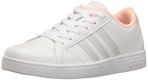adidas Baseline K Sneaker, White/White/Coral, 6.5 Big Kid M by adidas
