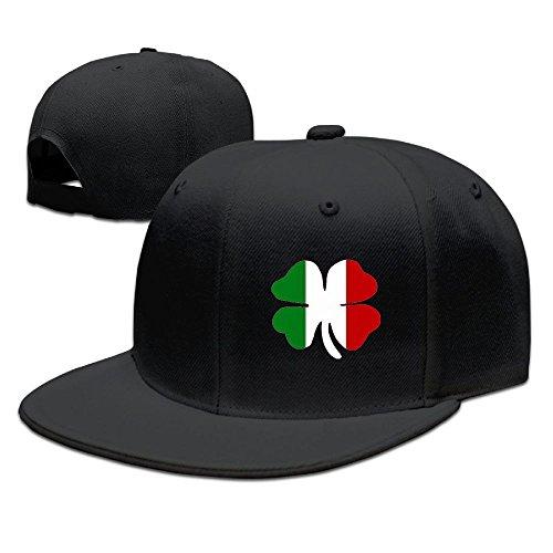 WLF Four Clover Italian Flag Unisex Adjustable Flat Baseball Cap Hip-Hop Hat ()