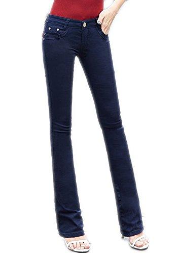 Tengfu Women's Fashion High Rise Slimming Wide Leg Stretch Denim Flare Bellbottom Jeans, Navy Blue, 27
