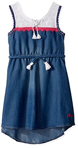 kensie Girls' Big Casual Dress, White Yoke lace Trim Medium Blue Denim, 8/10 - Lace Trim Denim
