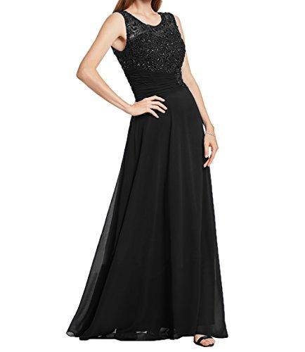 Elegant Ballkleider Festlichkleider Schwarz Chiffon Damen Formalkleider Charmant Abendkleider Partykleider aus Spitze 5fvIfqpT