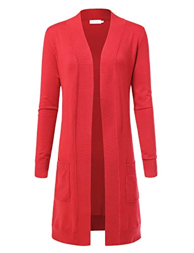 Women's Solid Soft Stretch Longline Long Sleeve Open Front Cardigan XL Hot Coral ()