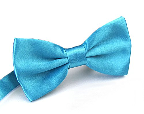 Sunny Ocean Adjustable Clip On Bow Tie for Men Tuxedo Solid Blue Bowtie Blue