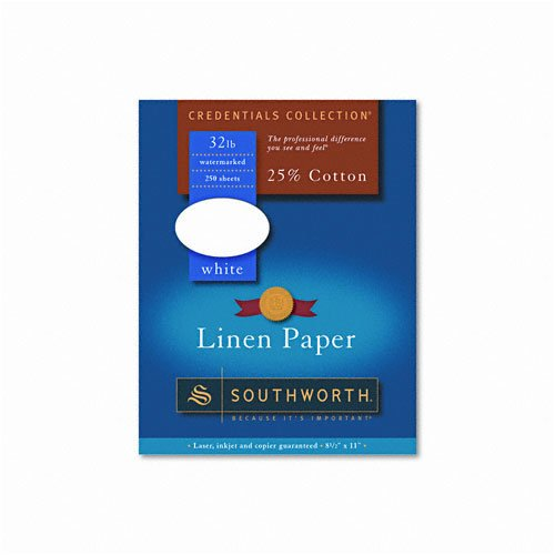 Southworth : Credentials Collection Fine Linen Paper, White, Letter, 250 Sheets per Box -:- Sold as 2 Packs of - 250 - / - Total of 500 -