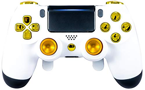PS4 Elite Controller Soft Touch White/Gold Custom with Paddles, Trigger Stops. Professional Level Graded Equipment. Tournament Approved and Legal! for FPS Games, COD, Fortnite, Destiny, Black Ops 4