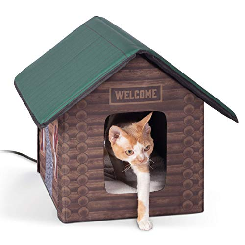 K&H PET PRODUCTS K&H Manufacturing Outdoor Kitty House Cat Shelter, Log Cabin Design