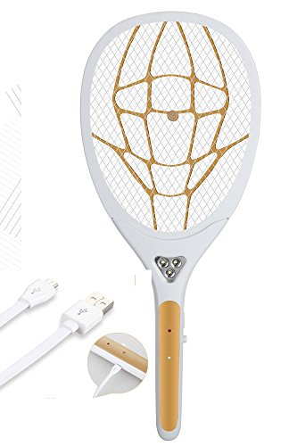 Hisonders Rechargeable USB Electronic Bug Zapper, Fly Swatter, Pest Control with LED Flashlight for Indoor and Outdoor (Gold-205)