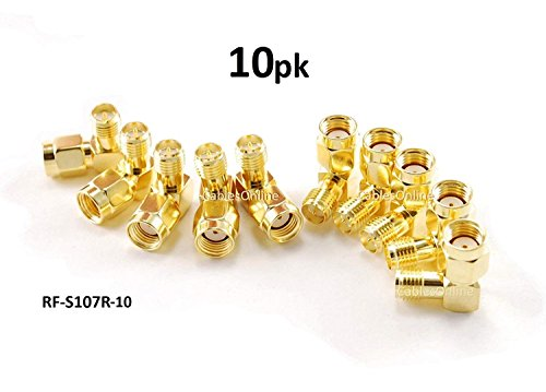 CablesOnline RP-SMA Male to RP-SMA Female Right Angle 90-Degree Gold Plated Adapter (10-Pack) (RF-S107R-10)