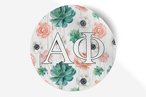 "Alpha Phi Sticker Greek Sorority Decal for Car, Laptop, Windows, Officially Licensed Product, Monogram Design 5"" x 5"" - Succulents Floral"