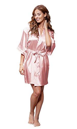 Women's Pure Color Satin Short Kimono Bridesmaids Lingerie Robes (Small/Medium, Light (Pink Womens Robe)