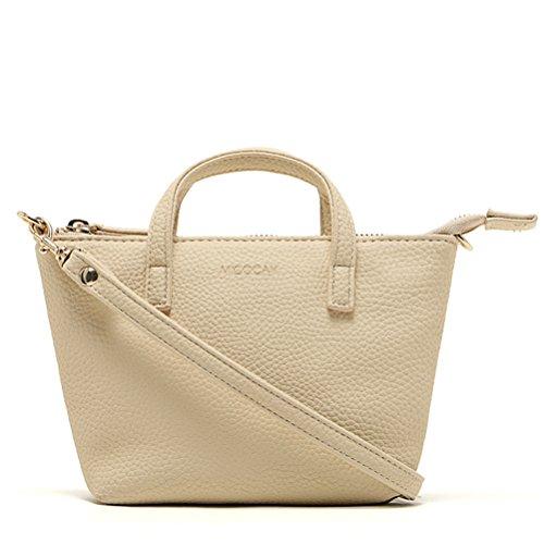 Donalworld Handbag Satchel Leather Hobo Totes Mini PU Bag Messenger Beige Shoulder Women rXOCpxr
