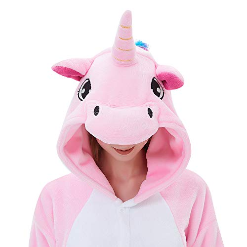 ABENCA Fleece Onesie Pajamas for Women Adult Cartoon Animal Unicorn Halloween Christmas Cosplay Onepiece Costume, Old Pink Unicorn, -