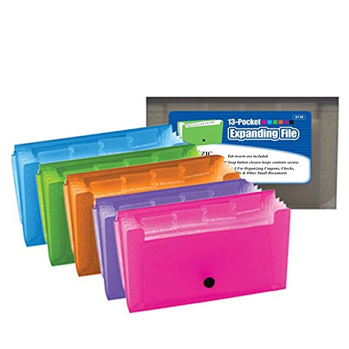 3 Pk, Expanding File Folder 13-Pockets Coupon/Personal Check Size Expanding File With Tab Inserts (Colors May Vary)