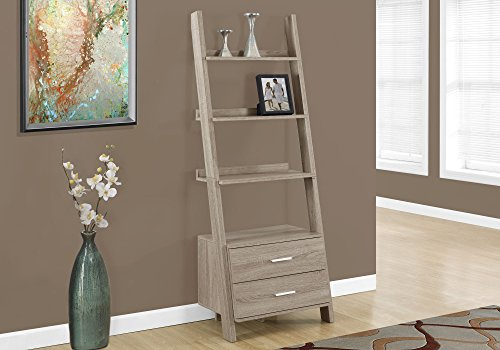 Specialty Grain End (Monarch Specialties I 2538, Bookcase, Ladder with 2-Storage Drawers, Dark taupe, 69