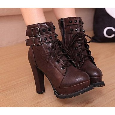 Black Casual For Boots 5 EU36 RTRY 5 Chunky Fall CN35 Women'S Fashion Pu Winter Combat UK3 Shoes Yellow Boots US5 Brown Boots Heel 1F47qa