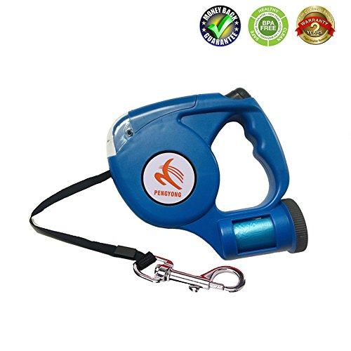 Dog on Leashes Retractable Walking Leashes Training Leashes for Medium Small pet with One Button Break Lock, Waste Dispenser and Led Flashlight with Tangle Free dogs cord Retracts15ft,Up to 110 (Dispenser Full Flash)