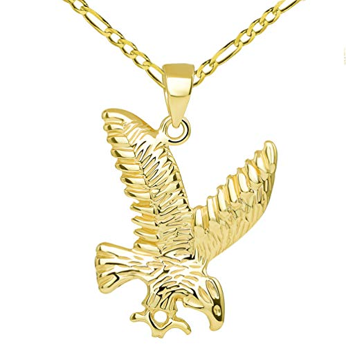 14k Solid Yellow Gold Soaring American Eagle Animal Pendant with Figaro Chain Necklace, 16