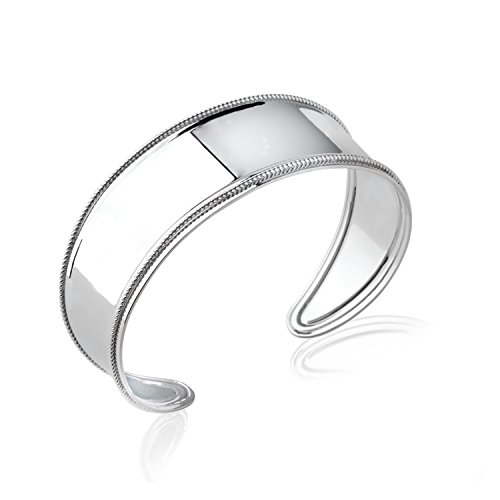 Bracelet Manchette Rigide Ouvert en Argent 925/000 Rhodié - Diamètre 58 mm