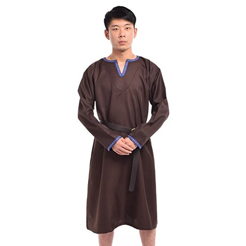 BLESSUME Medieval Knight Tunic with Belt Brown