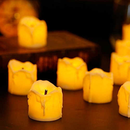 Zabicat 24pcs Electric Flameless Candles Battery Operated,Yellow Flickering Tea Lights Christmas ...