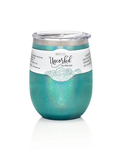 BruMate Uncork'd Insulated Stainless Steel Wine Glass 14oz (Glitter Peacock) by BruMate
