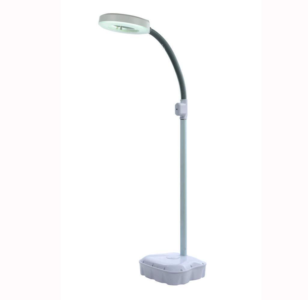 MEIMEIDA 3X Schönheitslampe LED VerGrößerung Glas Schattenlose Lampe Professionel Hautpflege Tätowieren Maniküre Schönheit Spa Schwanenhals Beleuchtet Stehleuchte,22W-Weiß