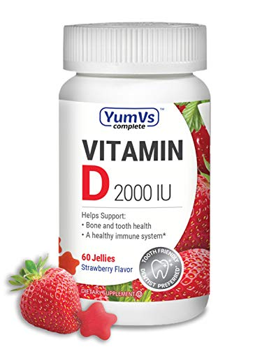 YUM-V's Complete Vitamin D Jellies (Gummies) 2000 IU, Strawberry Flavor (60 Ct); Daily Dietary Supplement for Men and Women, Chewable, Vegetarian, Kosher, Halal, Gluten Free