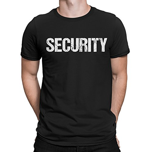 - NYC FACTORY Security T-Shirt Black Mens White Tee Staff Event Front & Back Print (2XL)