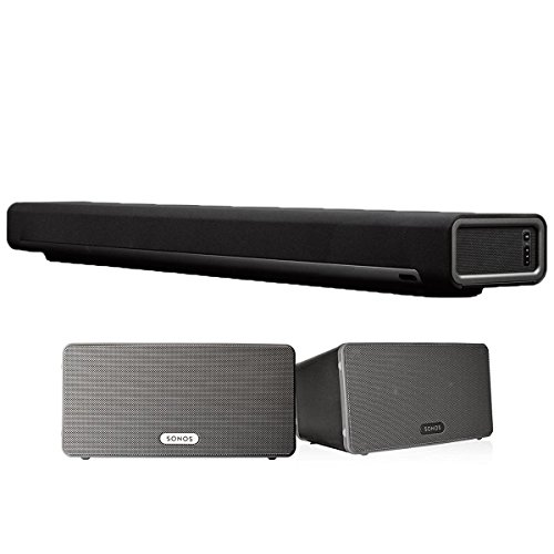 Sonos Multi-Room Digital Music System Bundle (PLAYBAR & (2) PLAY:3 Speakers – Black)