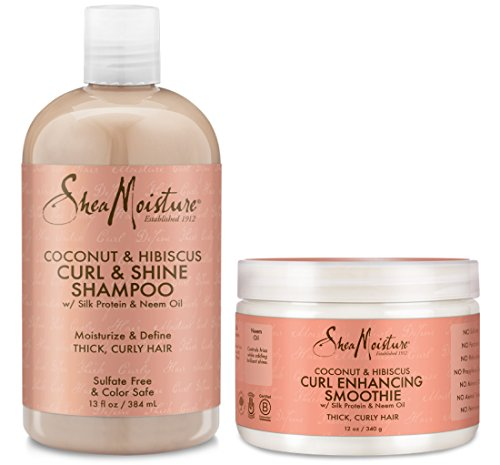 (Shea Moisture Coconut & Hibiscus Combination Pack - 13 oz. Curl & Shine Shampoo & 12 oz. Curl Enhancing Smoothie)