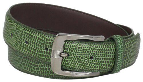 Stacy Adams Men's 32mm Genuine Leather Lizard Skin Print Belt With Brushed Nickle Buckle, Olive, - Olive Genuine Belt