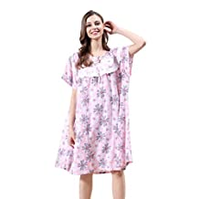 BSDUEVER Womens Cotton Plus Size Summer Printed Loose Nightgowns