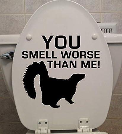 Amazon com: PotteLove Skunk - You Smell Worse Than Me! - Toilet Seat