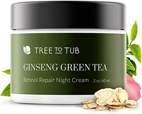 Retinol Sensitive Skin Night Cream for Face by Tree To Tub - pH 5.5 Gentle Anti Aging Night Cream with Hyaluronic Acid, Ginseng and Green Tea. Wake Up to Moisturized Dewy Glowing Skin 2 oz