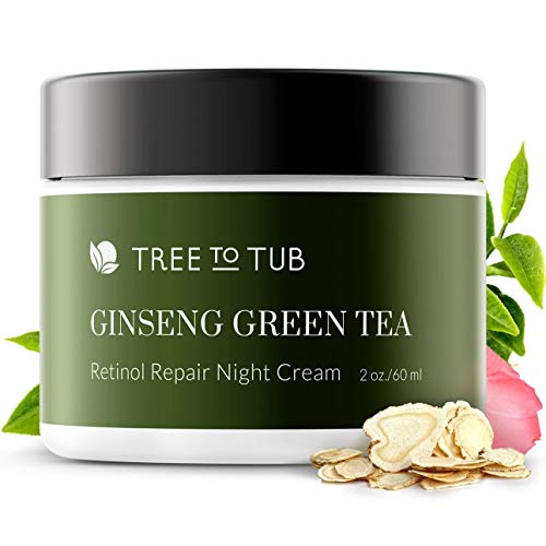 Gentle, Sensitive Skin Night Cream for Face. The Only pH 5.5 Anti Aging Night Cream with Retinol and Hyaluronic Acid for Glowing Skin. Infused with Ginseng and Green Tea, 2 oz - by Tree To Tub (Best Day And Night Cream For Sensitive Skin)