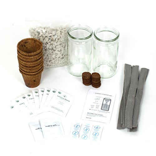 Garden Seed Starter DIY Kit - 9PACK: Start your own farm-to-table garden with this easy, all-inclusive seed propagation kit. Convert up to NINE regular-mouth mason/canning jars into self-watering pots by Modern Sprout