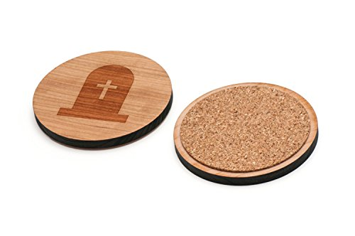 Cross Tombstone Wooden Coasters Set of 4 - Waterproof Coated and Made from USA Premium Cherry Wood. (3.3