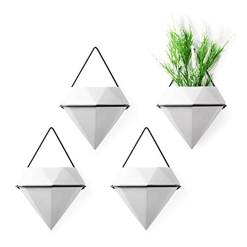 T4U Diamond Wall Planters Geometric Wall Vases Set of 4, Trigg Ceramic Mounted Succulent Air Plants Pots Cactus Faux Plant Containers White Modern Indoor Decor for Home and Office (Wall Planter)