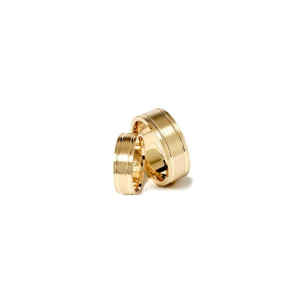 Pompeii3 Inc. Matching His Hers 14K Yellow Gold Wedding Ring Band Set   11