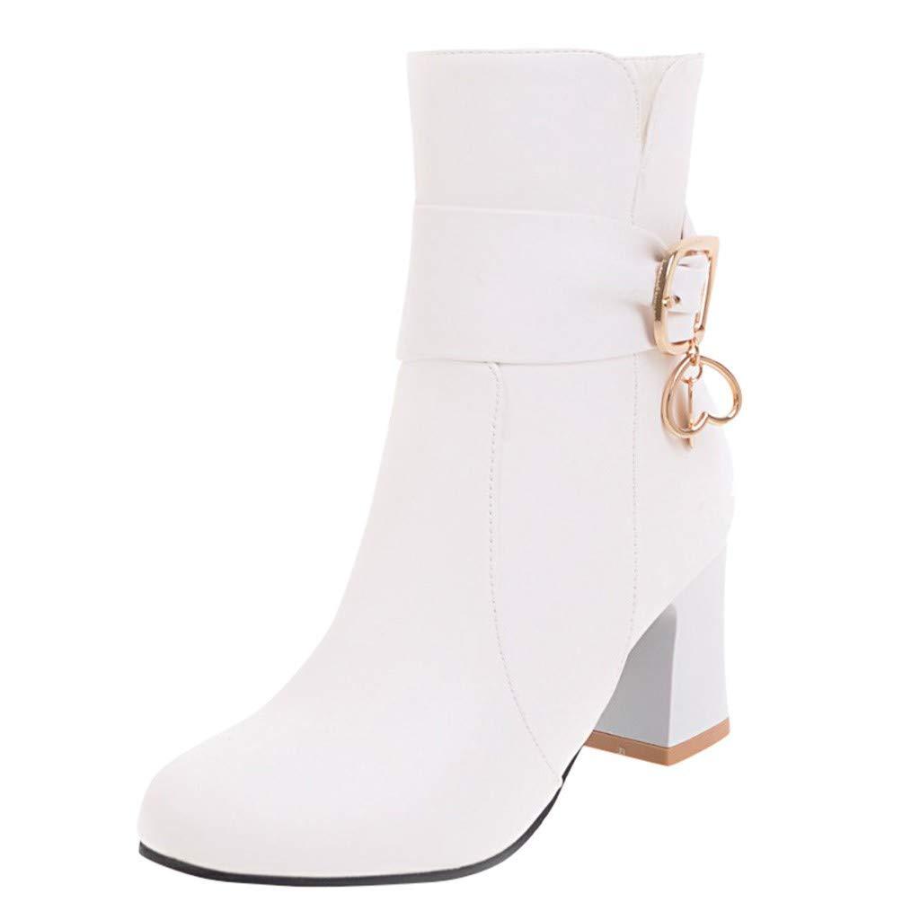 LINSINCH Chaussures Femme Pieds Larges Moto Botte Bottes /à La Cheville /épaisses avec Fermeture /à Glissi/ère Au Talon Haut pour FemmesHiver Chaussons Blooma