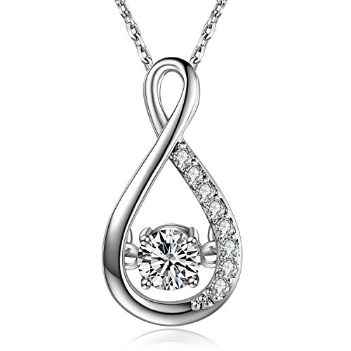 Caperci Sterling Silver Jewelry White Cubic Zirconia Infinity Pendant Necklace for Women, 18''