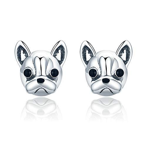 Mens Women Sterling Silver Bulldog Dog Earrings Stud Earrings (Sterling Silver Bulldog Ring)